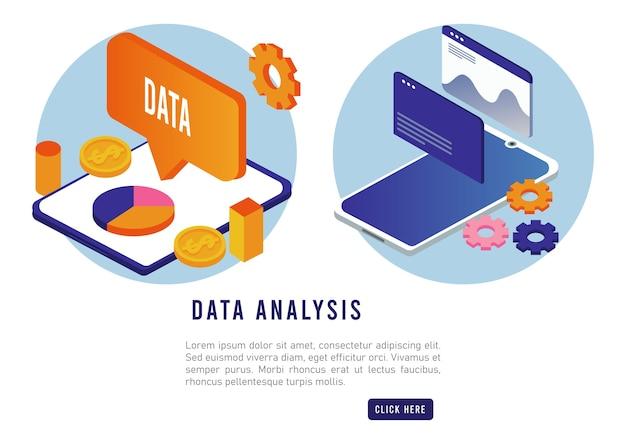 Technologie d'analyse de données avec tablettes et smartphones.