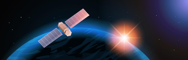 Technologie d'astronautique d'exploration spatiale, satellite d'observation volant un vol spatial orbital autour d'un vaisseau spatial terrestre dans le cosmos