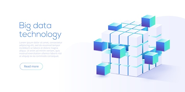 Technologie big data dans la page de destination isométrique