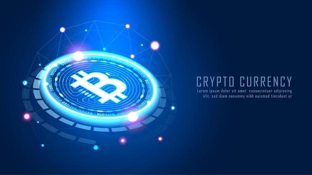 Technologie de blockchain bit coin avec concept de connexion réseau adapté à l'investissement financier ou à l'idée d'entreprise des tendances de la crypto-monnaie et à la conception de toutes les œuvres d'art - vecteur