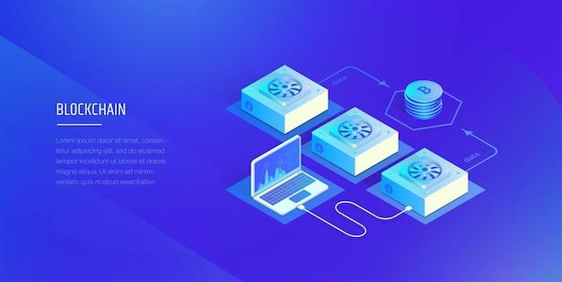 Technologie blockchain composition de la crypto-monnaie et de la blockchain ferme minière le travail et l'analyse du système blockchain l'illustration vectorielle moderne du style isométrique