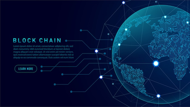 Technologie blockchain avec concept de connexion global