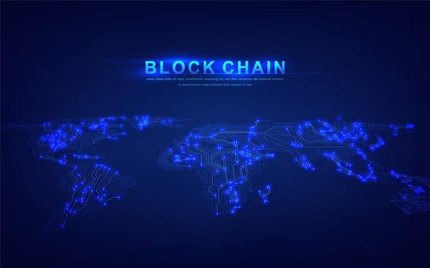 Technologie blockchain avec concept de connexion globale adapté à l'investissement financier ou aux tendances de la crypto-monnaie