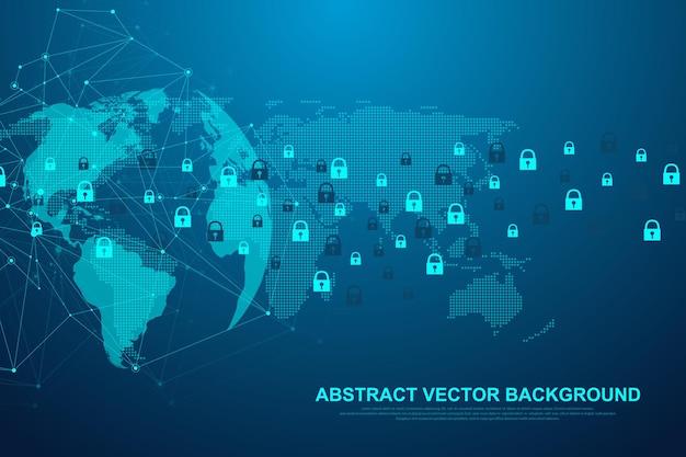 Technologie blockchain de fond abstrait futuriste. connexion au réseau internet mondial. concept d'entreprise de réseau pair à pair. bannière vectorielle mondiale de blockchain de crypto-monnaie. flux de vague.