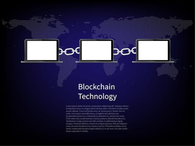 La technologie blockchain. ordinateur de connexion