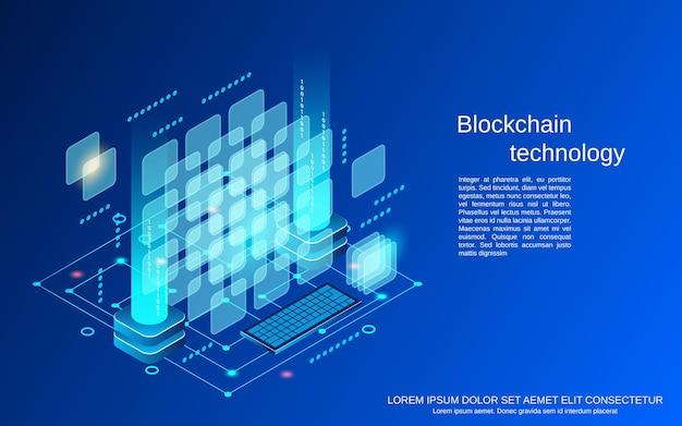La technologie blockchain plat 3d illustration de concept de vecteur isométrique