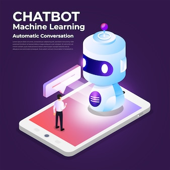 Technologie de bot de chat concept isométrique. message de discussion de machine d'intelligence artificielle par apprentissage automatique. illustrer.