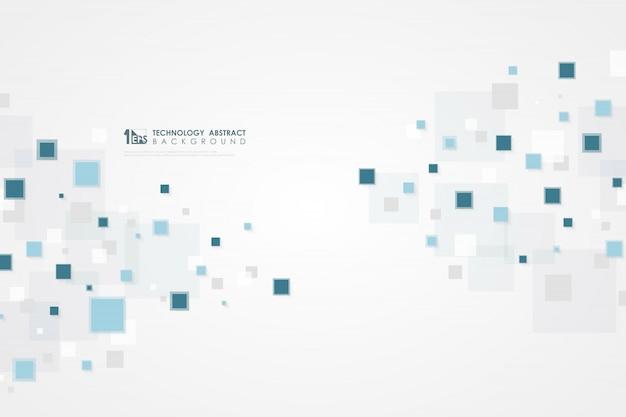 Technologie carrée bleue abstraite de fond futuriste.