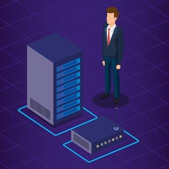 Technologie de centre de données et personne d'affaires isométrique