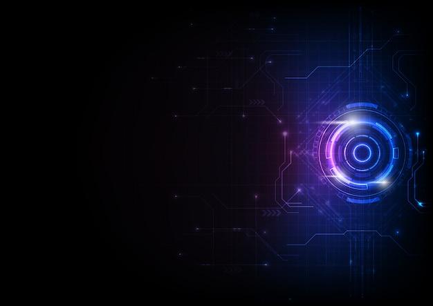 Technologie de circuit de jeu futuriste bleu-violet