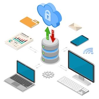 Technologie de cloud computing isométrique