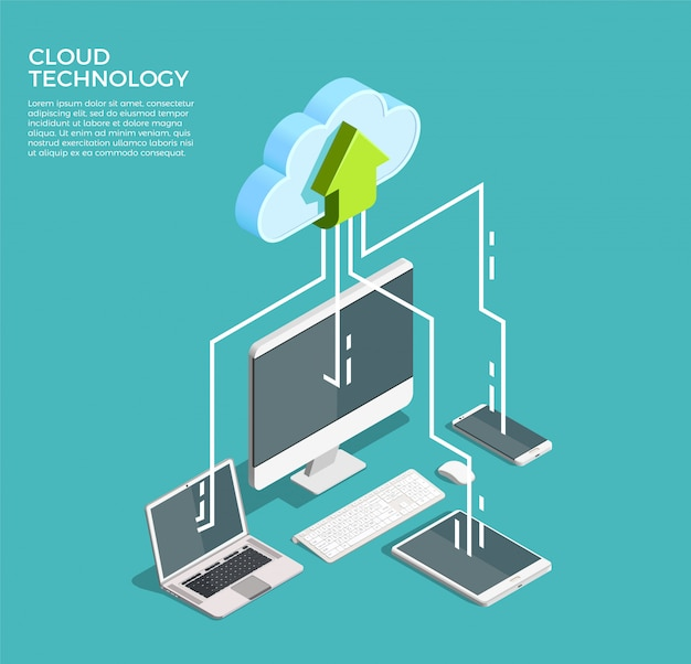 Technologie de cloud computing isométrique