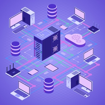 Technologie de cloud computing de réseau de données isométrique