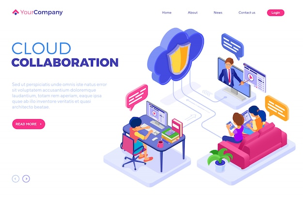 Technologie cloud d'éducation de collaboration en ligne. modèle de page de destination