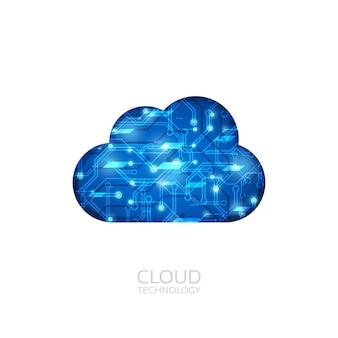 Technologie cloud avec ligne de circuit, isolée