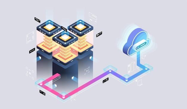 Technologie cloud moderne et concept de réseau