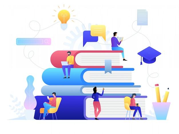 Technologie de concept en ligne de l'éducation. livres électroniques, cours sur internet et processus d'obtention du diplôme. illustration dans un style plat.
