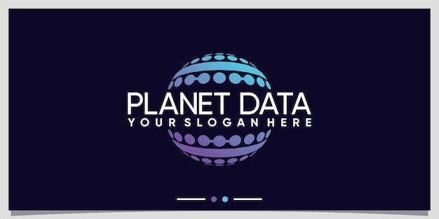 Technologie de conception de logo de données de planète avec un concept unique vecteur premium