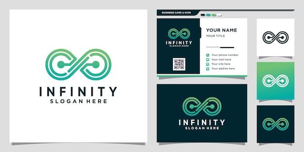 Technologie de conception de logo infinity avec style de dessin au trait et conception de carte de visite vecteur premium
