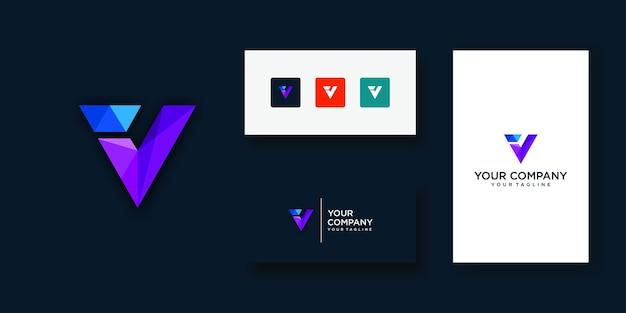 Technologie de conception de logo lettre v