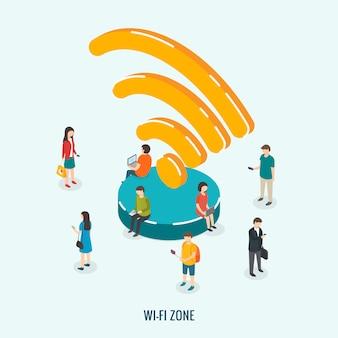 Technologie de connexion sans fil de la zone wi-fi publique. illustration 3d isométrique