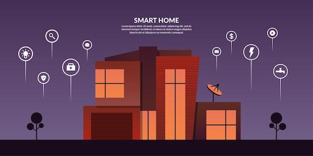 Technologie de contrôle de la maison intelligente avec des icônes de contour, domotique moderne