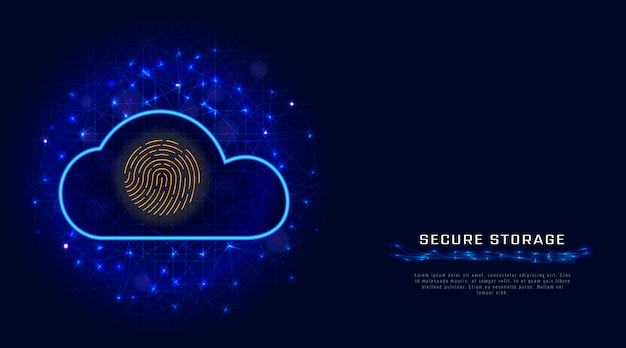 Technologie de cybersécurité. icône de scanner d'empreintes digitales de protection des données de stockage en nuage sécurisé