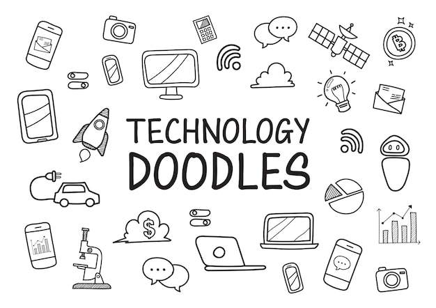 Technologie doodles icônes dessinées à la main.