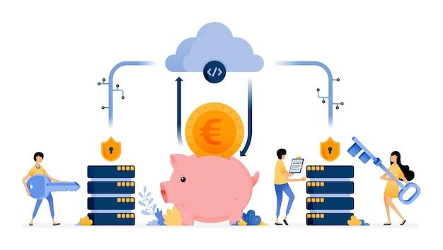 Technologie du système de sécurité des bases de données et des services bancaires en nuage