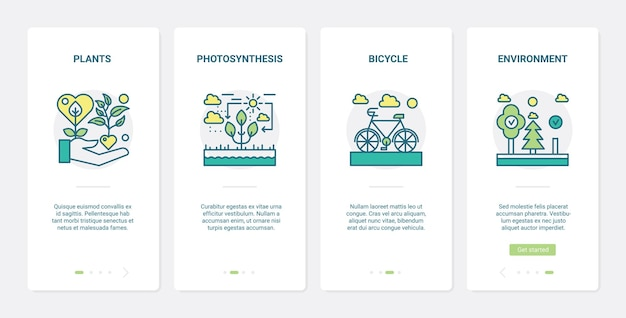 Technologie écologique écologique pour sauver l'écologie. ux, application mobile d'intégration de l'interface utilisateur définie des symboles d'environnement, photosynthèse des plantes, transport de vélos respectueux de l'environnement
