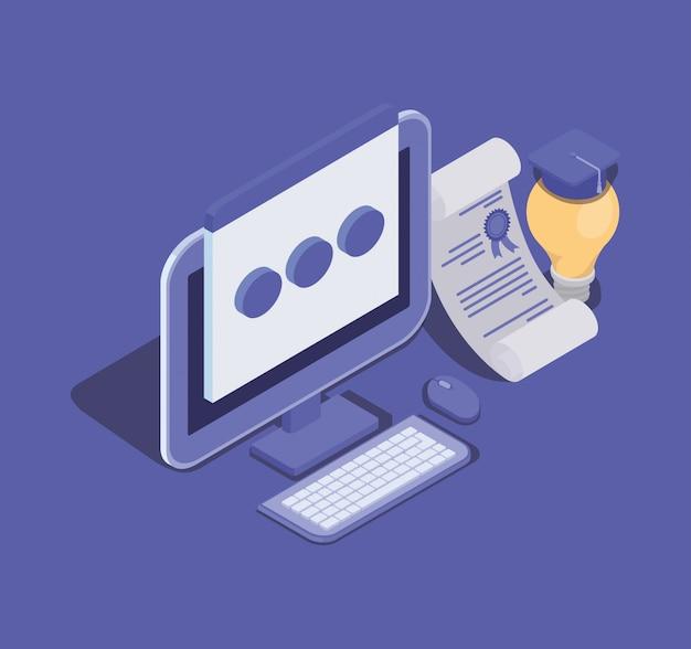 Technologie d'éducation en ligne avec ordinateur de bureau