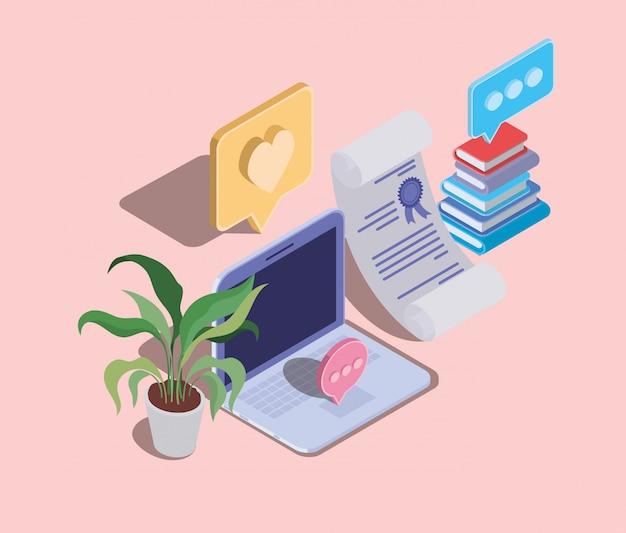 Technologie d'éducation en ligne avec ordinateur portable
