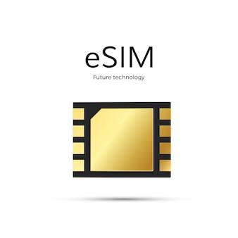 Technologie esim. icône de la carte sim.