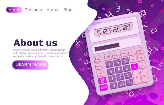 Technologie de finance web de la calculatrice, site web plat de bannière d'entreprise, illustration vectorielle