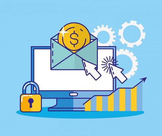 Technologie financière avec l'icône du bureau