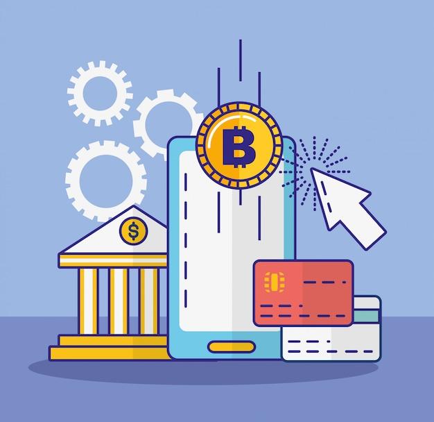 Technologie financière avec l'icône du smartphone