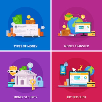 Technologie financière plat icônes orthogonales colorées concept carré avec paiements en ligne sécurité de transfert d'argent