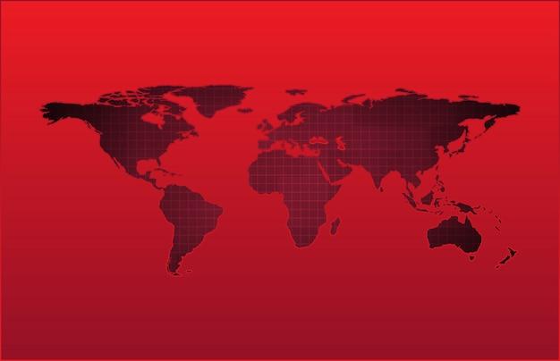 Technologie de fond abstrait de la carte du monde rouge