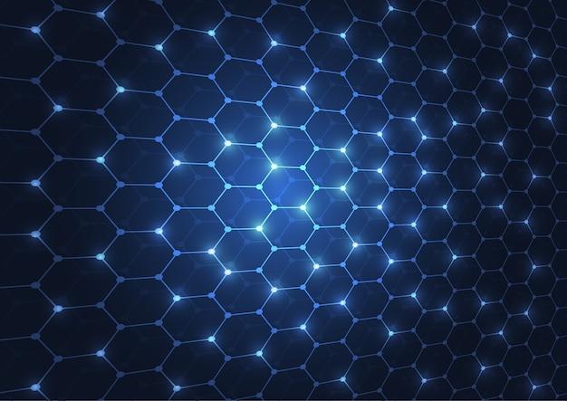 Technologie de fond abstrait hexagones bleu