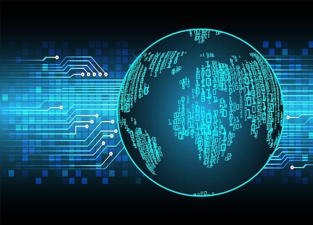 Technologie future de circuit imprimé binaire, fond de concept de cyber sécurité bleu carte du monde