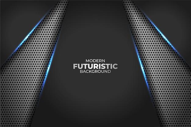 Technologie futuriste moderne bleu lueur géométrique diagonale avec fond métallique