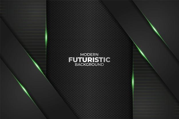 Technologie futuriste moderne minimaliste diagonale superposée géométrique lueur vert néon sur fond sombre