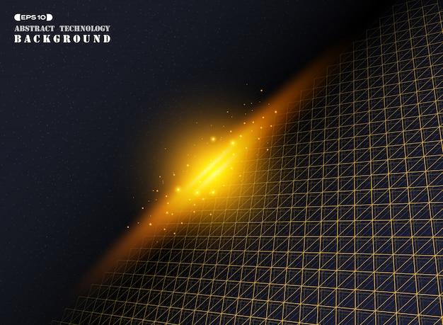 Technologie futuriste de motif de ligne de bande de triangle géométrique abstrait or.