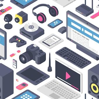 Technologie gadgets isométriques ordinateur modèle sans couture équipement web isométrique