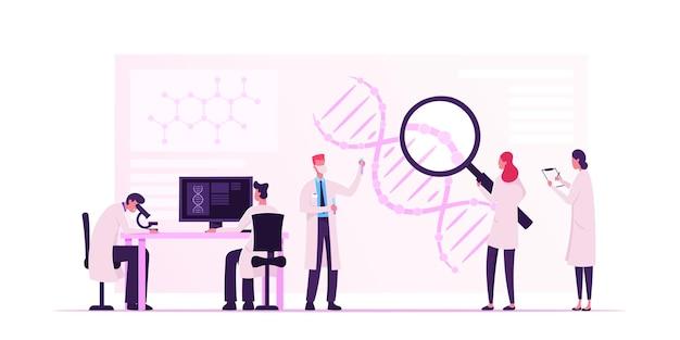 Technologie génétique de la médecine. illustration plate de dessin animé