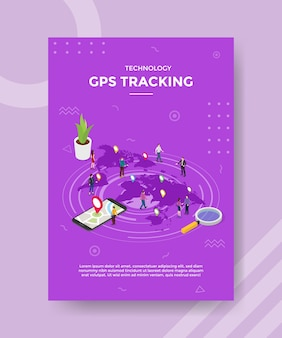 Technologie gps suivi des personnes debout sur le monde de la carte de localisation du pointeur pour le modèle de bannière et dépliant