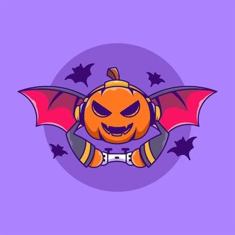Technologie d'halloween de personnage de dessin animé de jeu de citrouille de chauve-souris mignonne isolée
