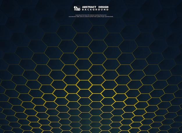 Technologie hexagonale dégradé abstraite sur fond jaune