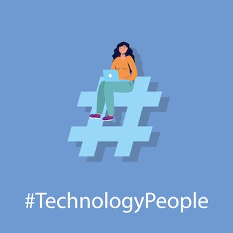 Technologie de l'homme avec un personnage d'ordinateur portable