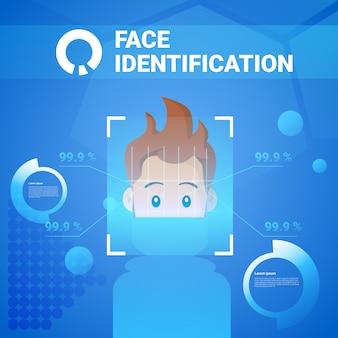 Technologie d'identification du visage scannig man système de contrôle d'accès concept de reconnaissance biométrique